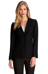 Cece By Cynthia Steffe Floral Lace Inset One Button Jacket Rich Black