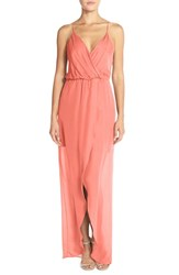 Women's Maids Rory Beca 'Jones' Silk Georgette Faux Wrap Gown Coral