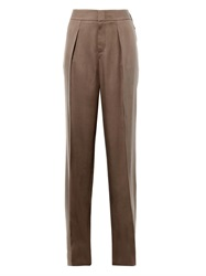 Gucci Wide Leg Silk Twill Trousers