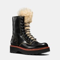 Coach Moto Hiker Boot With Shearling Black