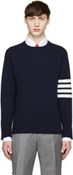 Thom Browne Navy Cashmere Striped Armband Pullover
