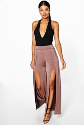 Boohoo Split Front Wide Leg Palazzo Trousers Bronze