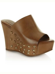 Daniel Burbank Wedge Peep Toe Mules Brown