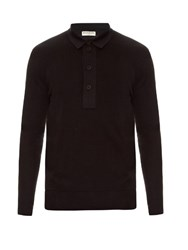 Balenciaga Layered Cotton Knit Polo Shirt Black