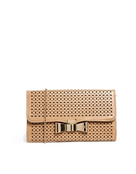 Liquorish Laser Cut Nude Clutch Bag With Bow