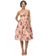 Unique Vintage Dandridge Swing Dress Peach Floral Print Women's Dress Multi