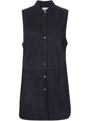 Vince Sleeveless Suede Shirt Blue