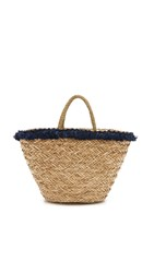 Hat Attack Seagrass Tassel Tote Natural Navy