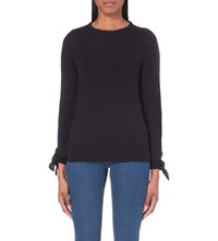 Whistles Tie Cuff Wool Jumper Navy