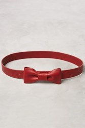 Anthropologie Leather Bow Belt Red