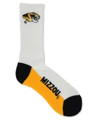For Bare Feet Missouri Tigers Crew White 506 Socks