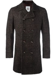 Eleventy Plaid Double Breasted Coat Brown