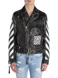 Off White Colorblock Leather Jacket Black