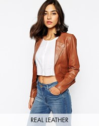 Warehouse Leather Collarless Jacket Tan