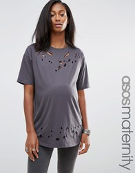 Asos Maternity T Shirt In Boyfriend Fit With Distressed Detail And Nibbling Charcoal Grey