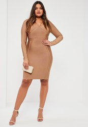 Missguided Plus Size Camel Harness Strap Bandage Bodycon Dress