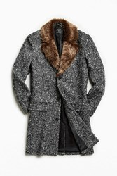 Urban Outfitters Uo Faux Fur Trim Lapel Top Coat Washed Black