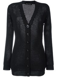 Versace Mesh Panel Cardigan Black
