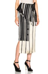 Each X Other Belted Wrap Skirt In Black Neutrals Stripes