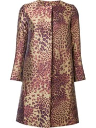 Josie Natori Leopard Print Coat Brown