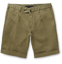 Incotex Slim Fit Linen And Cotton Blend Shorts Green