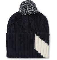 Moncler Gamme Bleu Chevron Intarsia Virgin Wool Bobble Hat Navy