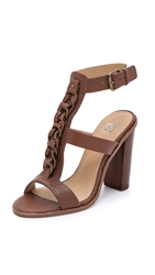 Joe's Jeans Roscoe Chunky Heel Sandals Red Brown