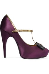 Lanvin Embellished Leather Trimmed Satin T Bar Pumps Purple