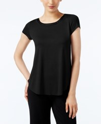 Alfani Petite Satin Trim High Low T Shirt Deep Black