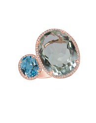 Marco Moore Green Amethyst Topaz Diamond And 14K Rose Gold Ring Blue