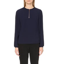 Ted Baker Sazzie Zip Front Crepe Top Dark Blue