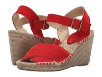 Soludos Crisscross Wedge Bright Red Suede Women's Wedge Shoes