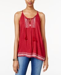 American Rag Embroidered Sleeveless Top Only At Macy's Rio Red Combo