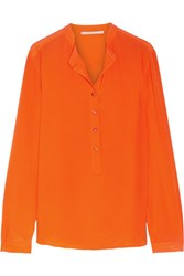 Stella Mccartney Eva Silk Crepe De Chine Blouse Bright Orange