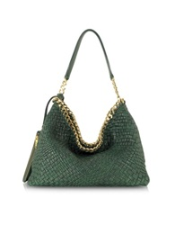 Ghibli Emerald Green Woven Leather Shoulder Bag