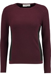 Pringle Leather Paneled Cashmere Sweater Red