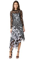 Self Portrait Vine Lace Midi Dress Black
