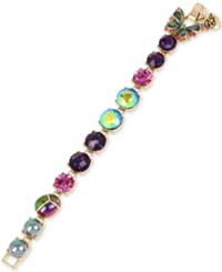 Betsey Johnson Gold Tone Multicolor Bug And Butterfly Link Bracelet