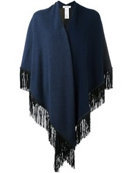 Allude Fringed Knit Poncho Blue