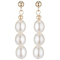 A B Davis 9Ct Yellow Gold Triple Pearl Drop Earrings White