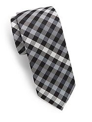 Original Penguin Buffalo Check Silk Tie Black