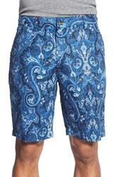 Men's Robert Graham 'Fantail' Paisley Print Linen And Cotton Shorts