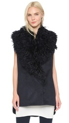 Thakoon Fur Collar Vest Navy