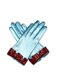 Gucci Sequined Cuff Leather Gloves Blue Multi