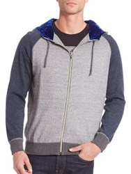 Robert Graham Raglan Sleeve Cotton Hoodie Heather Navy