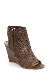 Vince Camuto Women's 'Xabrina' Perforated Wedge Sandal Dark Brown Leather