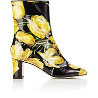 Dolce And Gabbana Women's Tulip Print Ankle Boots Black Yellow Black Yellow