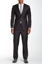 Hickey Freeman Brown Sharkskin Two Button Notch Lapel Suit