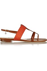 Oscar De La Renta Betty Canvas Trimmed Leather Sandals Brown