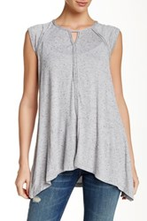Max Studio Twist Jersey Cap Sleeve Tee Gray
